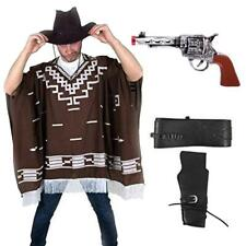 Fancy Dress Gun Hat Western Wild West Cowboy Poncho for Clint Eastwood Nights