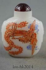 Collectible Handwork Agate Carve Fly Phoenix Royal Auspicious Noble Snuff Bottle