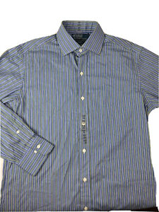 NEW Ralph Lauren Polo PRL Regent Blue Green Stripe Mens 15 32/33 Shirt Classic