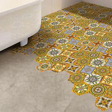 Walplus Light Orange Floral Hexagon Floor Tiles Stickers, Home Decorations, DIY