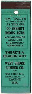 WEST SHORE LUMBER CO RACINE WI 20 FS MATCHBOOK COVER