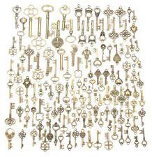 125x Antique Vintage Old LOOK Bronze Skeleton Keys Fancy Heart Bow Pendant