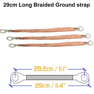 29cm Car Braided Engine&Ground Bonding Strap Grounding Lead Wire Strip Long 3pcs