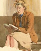 Alexandra E. Layfield - Mid 20th Century Watercolour, Lady Reading