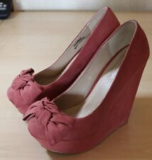 MISS SELFRIDGE Pink Plateau Wedges mit Schleife, Keilabsatz, High Heels, Gr. 39