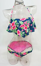 d145ea86215 SO Blue Floral 2-Piece Flounce Bandeau Bikini Set Swimwear Juniors' XS,S