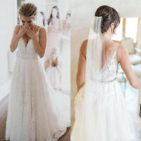 Bohemian A Line Lace Wedding Dress V Neck With Sash Backless Beach Bridal Gown
