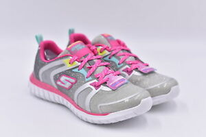 Youth Girl's Skechers Speed Trainer Lace Up Sneakers, Grey / Pink, 5