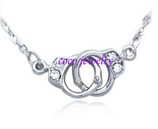 Handcuffs Charm Pendant Necklace Bling Clear Crystal Girl Friend Jewelry Gift