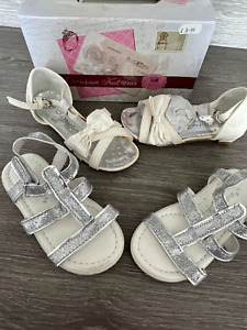 GIRLS PARTY SANDALS 2 x PAIRS IVORY DRESS & SILVER XMAS PARTY infant size 8