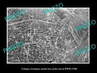 OLD LARGE HISTORIC PHOTO COLOGNE GERMANY AERIAL VIEW OF CITY IN WWII c1940