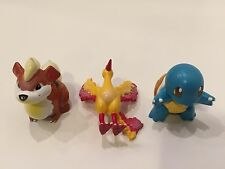 "Vintage Pokemon TOMY CGTSJ AULDEY Toy 2"" PVC Figures Growlithe Moltres Squirtle"