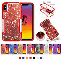 For iPhone XR XS Max 8 7 Plus 6S Heavy Duty 360 Glitter Liquid Bling Case Cover