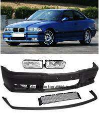M3 Style Front Bumper W/ Fluted Clear Fog Lights Lip For 92-98 BMW E36 3-Series