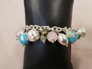 Sterling Arte d' Argento Italy rose, blue, pink quartz charm bracelet 925 Italy