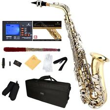 Mendini Gold Lacquered Body Nickel Keys Eb Alto Saxophone +Tuner+Book ~MAS-LN