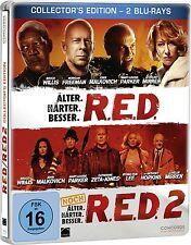 R.E.D. + R.E.D. 2 (Bruce Willis) 2 Blu-ray Discs, Steelbook NEU+OVP RED