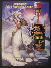 "1990 Rumple Minze Schnapps White Polar Bear,Sexy Women Pin-Up Type 8""x 11"" Ad"