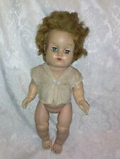 "VINTAGE 13"" Rubber Squeak Baby Doll Hair Green Open Close Eye Lash Diaper Shirt"