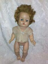 "VINTAGE 13"" Rubber Squeak Baby Doll Hair Green Open Close Eye Lash Diaper Shirt"