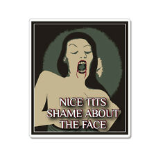 """Nice Tits Shame About the Face Funny car bumper sticker decal 5"""" x 4"""""""