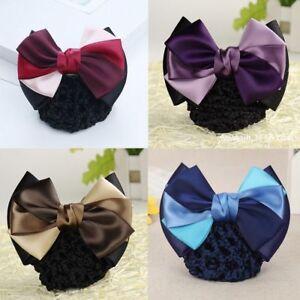 Details about  /2-pack Women Blue /& Brown Striped Flower Bow Hair Bun Cover Net Snood Net