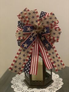 Farmhouse Patriotic  Bow Lantern, Wreath,door