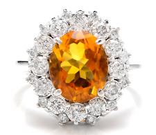4.75Ct Natural Madeira Citrine and Diamond 14K Solid White Gold Ring