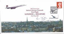 30th anniversary BA Concorde 1st Flight London-Helsinki signed Captain Britton