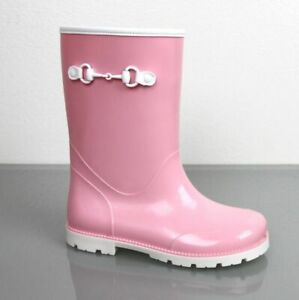 Gucci Kids Children's Pink Rubber Rain Boot w/Horsebit 285287 5867
