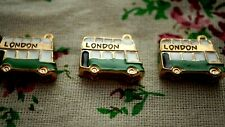 Bus gold & green enamel pendant charm jewellery supplies C1024