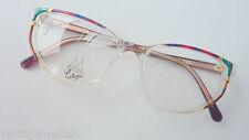 70s Damenbrille bunt-transparent große Glasform 52-17+ farbigen Bügeln Gr. M