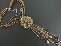 "Vintage Joan Rivers Necklace Statement Bronze Flower Aurora Borealis Beads 22"""