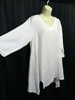 Match Point Solid White 100% Linen Tunic Top Asymmetrical Size M