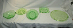 Green Depression Glass Anchor Hocking, Federal Glass, Jeannette 5 Pieces M4590