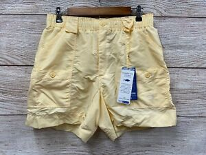 "Aftco Fishing Shorts Mens Size 32 Yellow 6"" Inseam 16"" Outseam Nylon Shorts New"