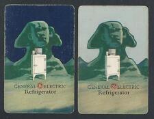 #100.743 vintage swap card -FAIR pair- Advert. General Electric Refrigerator