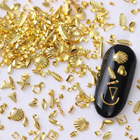 Gold Rivet Nail Studs Star Shell   3D Nail Art Decoration Design