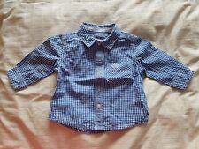 Next Blue Checked Long Sleeve Shirt 100% Cotton 3-6 months