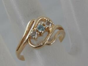 Estate 14 Karat Yellow Gold Blue Topaz & Aquamarine Ring Sz 6 3/4 14K F1273