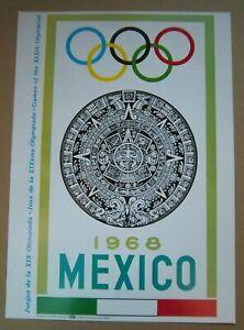 poster  Olympic Games MEXICO CITY 1968 - Official Logo // 35 x 25 cm  !!  RARE