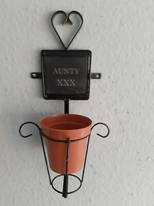 "Handmade With a 4"" Slate AUNTY XXX Plant Pot 4"" Ring Holder Wall Mount in BLACK"