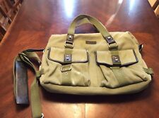 Bodhi Army Green Canvas Leather Padded Laptop Bag Nwot Unisex