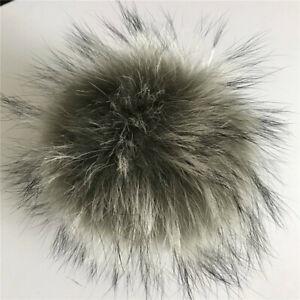 "20 colors 6"" 15cm Real Raccoon Fur Ball Pom Pom Snap Button DIY Beanie Hat Cap"