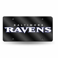 Baltimore Ravens NFL Black Mirrored Laser Cut License Plate Laser Tag