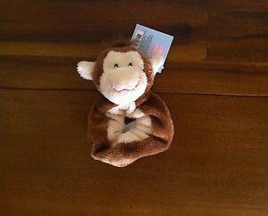 RUSS Berrie Monkey Baby Wrist Rattle Soft Plush Toy Unisex Shower Gift-Small