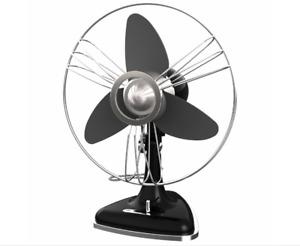 Swan 30cm Retro Desk Fan/Adjustable Speed/Oscillating/EVA Blades BLK
