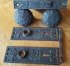 Antique Bronze 'Arabic' Doorknobs, Doorplates, Lock Pat. 1884 by Mallory Wheeler