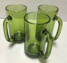 Set/3 Vintage Anchor Hocking Solid Forest Green Tall 12 oz Glass Mugs w Handles