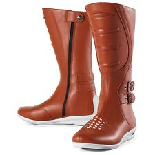 """Icon Sacred 12"""" Tall Leather Motorcycle Riding Boots Brown Women's 6"""